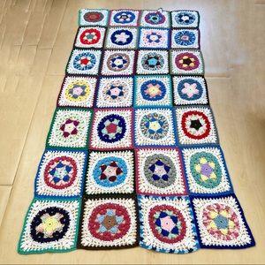 Vintage crochet granny squares large throw blanket
